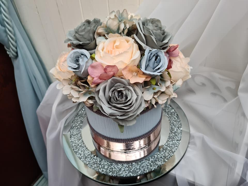 silk artificial flowers hat box